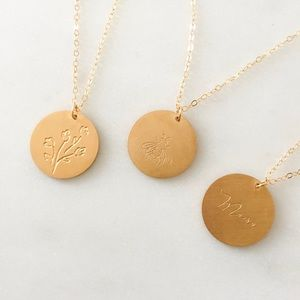 The Lex Line Jewelry - Stamped Coin Necklace 14k Gold Filled